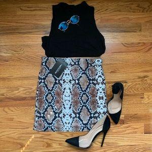 Pretty Little Thing Snakeskin Mini Skirt